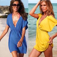 FREE SHIPPING+Victoria elastic viscose V-neck beach bikini dress outside shirt sexy one-piece dress