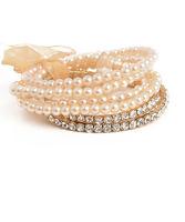 Womens' Fashion Jewelry Multi simulated pearl and Rhinestone Stretch Bracelet