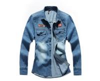 New 2014 Spring Slim Fit Long Sleeve Fashion Denim Men Shirt MW04
