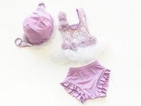 2014 children girls swimwear two pieces lavender princess swimsuit bikini
