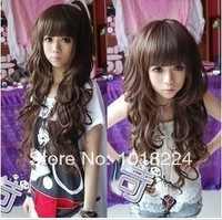 Wholesale 2014 new women's /Lady fashion colorful wig Long curly qi bangs Wig cosplay wigs synthetic hair Wigs cap free shipping