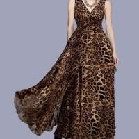 new 2014 summer Ruffled v neck boho dress women ruffle V-neck leopard print Floor-Length maxi dress vestidos de fiesta CM342