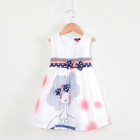 2014 New Baby Toddler Girl Cartoon Lady Print Dress Brand Children Summer Clothing Sleeveless Casual Cotton Dress