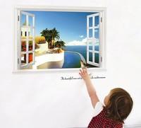 Free Shipping wall sticker bedroom bathroom living room TV backdrop wall stickers Mediterranean environment