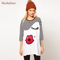 Free Shipping 2013 Fashion cute red lip monroe print loose stripe three quarter sleeve raglan sleeve round neck T-shirt