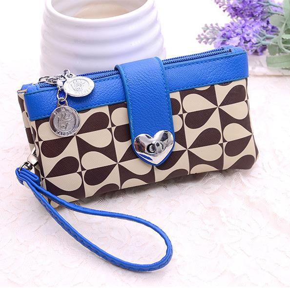 Designer peach heart print bag wrist day clutches fashion lady's leather wallet candy color coin purse for women(China (Mainland))