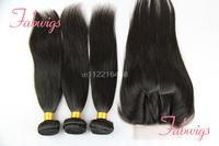 4 Pcs Lot Unprocessed Human Virgin Hair Lace Top Closure With Bundles 4x4 Peruvian Silky Straight 3 Way Part Lace Closure