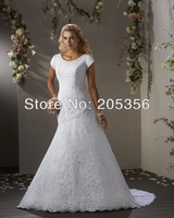 2014 New Arrival Free Shipping Round Neck Short Sleeve High Quality Satin Appliques Lace Up Back Popular Wedding Dresses NW51