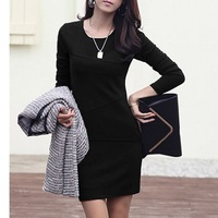 New 2014 wholesale Large size ladies dress long sleeve splice render women dress free shipping