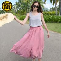 2014 twinset one-piece dress beach dress sleeveless o-neck pleated mid waist skirt