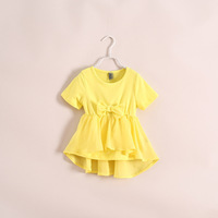 New 2014 Summer foreign trade Children clothing girls  princess cotton Korean splicing chiffon T-shirt 3 colors 6pcs/lot