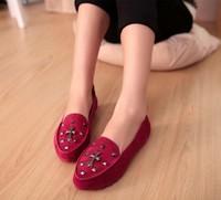 HOT women flats 2014 spring autumn rivet fashion flat women shoes plus size flat shoes ladies color black blue red