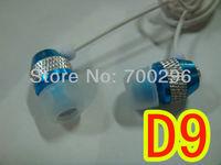 Freee shipping 10pcs/lot metal ear stereo earphones D9 applicable MP3/MP4/computer/phone walkman 5 colors
