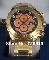 2014 New Brand Festina F16599 Tour de France Bike Quartz Chronograph Orange Dial Gold Stainless Steel Bracelet Men's Watch