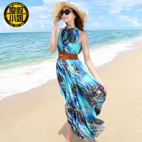 New arrival 2014 plus size clothing chiffon jumpsuit full dress beach dress bohemia dress full