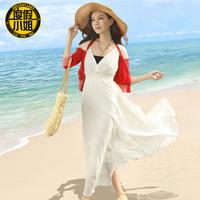 2014 plus size female chiffon full dress white full dress slim irregular skirt beach dress