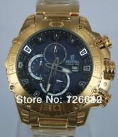 2014 New Brand Festina F16599 Tour de France Bike Quartz Chronograph Blue Dial Gold Stainless Steel Bracelet Men's Watch