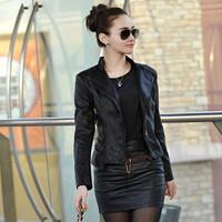 Free shipping Women Real sheep skin slim short jacket motorcycle water wash genuine leather jackets