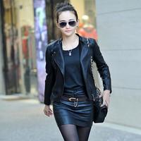 Free shipping 2014 women's genuine sheepskin leather  jacket female short design slim outerwear