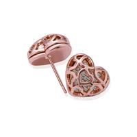 Fashion Woman Crystal Jewelry Heart Shape Stud Earrings 18KGP Rose Gold Plated Rhinestone Stainless Steel Dangling Earring