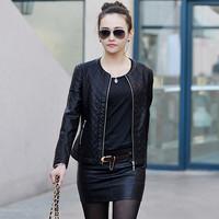 Free shipping 2014 sheepskin genuine leather clothing outerwear female slim short small design o-neck elegant leather clothing