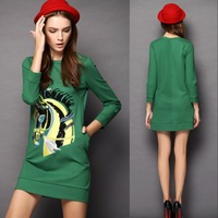 New Spring Exquisite Embroidery Paillette Party Sexy O-neck Long-sleeve Horse Printed Cute Solid Mini Stragiht Dress Casual R229