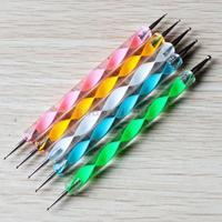 Free Shipping Dot Paint Big Sale 5pcs 2 Way Nail Art Tool Marbleizing Dotting Pen Dot Paint 3 09-0035