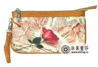 2014 Newest Fashion Women's  Rose digital Print day clutch coin purse Wallets Canvas Free Shipping From Factory