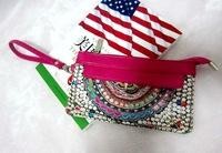 2014 Newest Fashion Women's  national trend digital print PU canvas day clutch coin purse Free Shipping Wholesales