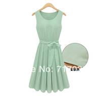 Vest dress sleeveless 2014 summer new European style round neck pleated chiffon dress sub 8012 spot Free shipping