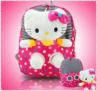 2pcs/set 1pcs bag+1pcs 30CM Hello Kitty Toy New arrive Hello Kitty bag Cute Hello Kitty Printing BACKPACK SCHOOL BAG for girl