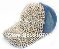 2014 New Handmade full rhinestone women denim cap ladies baseball hat   female baseball cap washed denim girls ourdoor hat