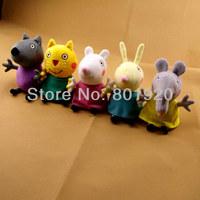Peppa Pig friend plush Toys Dog Cat Sheep Rabbit Elephant Dolls Stuffed Toys,19cm,5 pcs