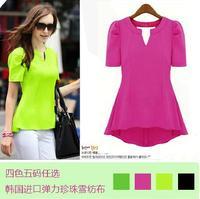 2014 Summer New Fashion Womens Casual Slim Ruffle Short Sleeve V Neck Irregular Candy Color Chiffon Tops Blouse Shirts For Women
