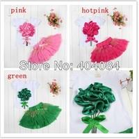 Retail Top selling! Girls clothing sets Big flower T-shirt + tutu skirt kids clothing 3D bow skirt drop shipping