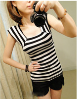 Small square collar slim women's top all-match sleeveless tight-fitting all-match stripe t-shirt female