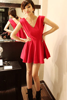 2013 fashion sexy ladies formal dress after V-neck racerback design short skirt small dress one-piece dress