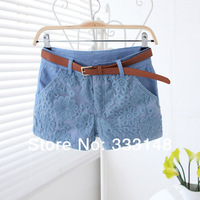 Best sale! 100%Cotton Womens Shorts Summer All-match Sweet Style Lace Embroidery Shorts 3 Colors SizeS-XL Free Gift of Belt