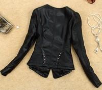 2014 spring autumn leather clothing female slim clothing outerwear leather jacket women motorcycle PU clothing coat leather