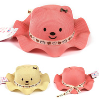New Korea Lovely Cute Children Straw Little Bear Smile Face Small Bow Silk Ribbon Child Sun Hat Caps