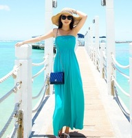 2014 New arrival Bohemia full dress solid color tube top racerback beach dress slim tube top dress one-piece dress