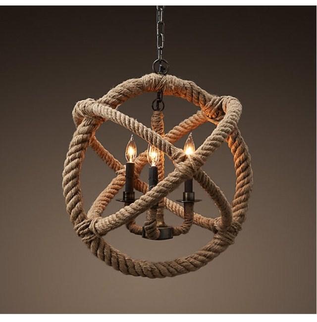 American style pendant light personality hemp rope nostalgic vintage pendant light preparation of handmade pendant light(China (Mainland))