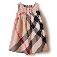 Hot ! Summer Baby Girls Dress New 2014 100% Cotton Plaid Girl Dresses Sleeveless Casual Baby Clothing Brand Fashion Infant Dress
