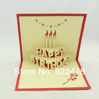 New 2014 Birthday Cards Handmade Three-dimensional Creative birthday cake Pop up cards 10pcs/lot Free shipping