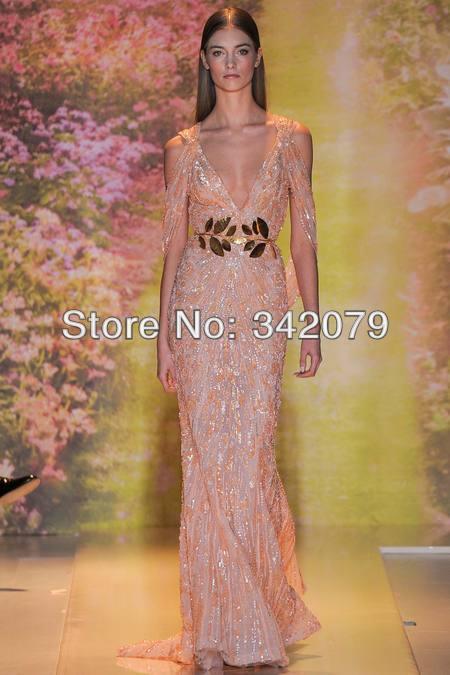 Ph03374 tiefen V-Ausschnitt voll perlen langer zug zuhair murad Frühjahr 2014 couture graduierung kleider