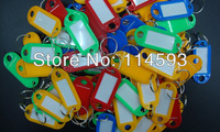 Plastic Key Ring ID Tags Name Card Label Language Fob Split Keychain