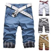 2014 summer hot-selling capris male plaid roll-up hem casual male slim casual capris pants