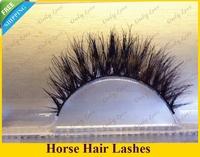 Newlook Free Shipping H666 3pairs/lot 100% Real Horse hair Strip Eyelashes thick cross black false eyelash extension