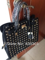 2013 new women Michaels Large Pyramid-stud totes and Perforated handbags fasion designer brand leather bag,rivet women handbag