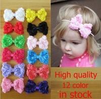 Free Shipping 12pcs/lot 2014 baby girl headbands Bowknot  flower (no clips) accessory infant hairband DIY handmade accessory